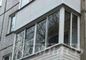 П-образный балкон, алюминиевое остекление